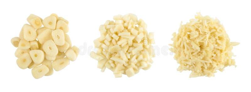 finamente - o alho desbastado, alho raspado, ajustou-se de três tipos isolado no fundo branco, vista superior fotografia de stock royalty free
