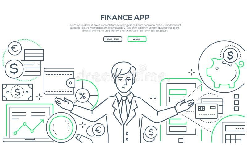 Finança app - linha colorida ilustração do vetor do estilo do projeto ilustração royalty free