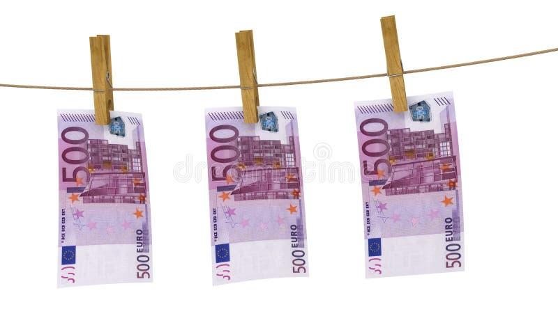 Finança do dinheiro da cédula do pregador de roupa do Euro ilustração do vetor