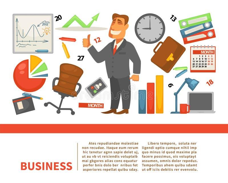 Finança do empresário do empregado ou do chefe do trabalhador de escritório para negócios ilustração royalty free