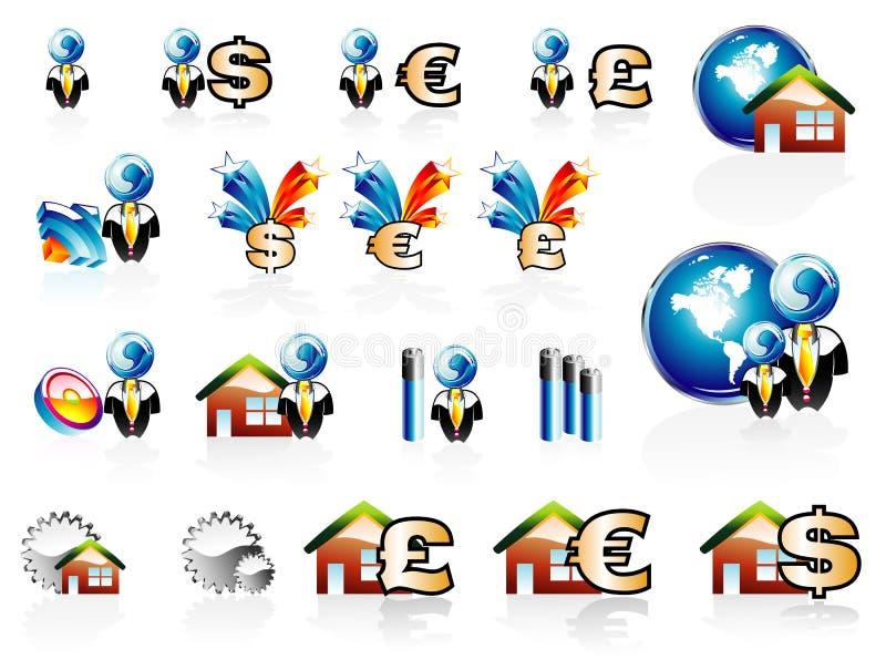 Finança do negócio e jogo do ícone da casa ilustração do vetor