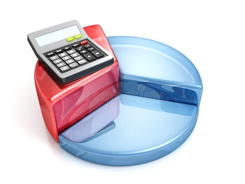 Finança do negócio, operação bancária e calculadora do escritório do conceito de contabilidade com gráfico colorido da torta ilustração do vetor