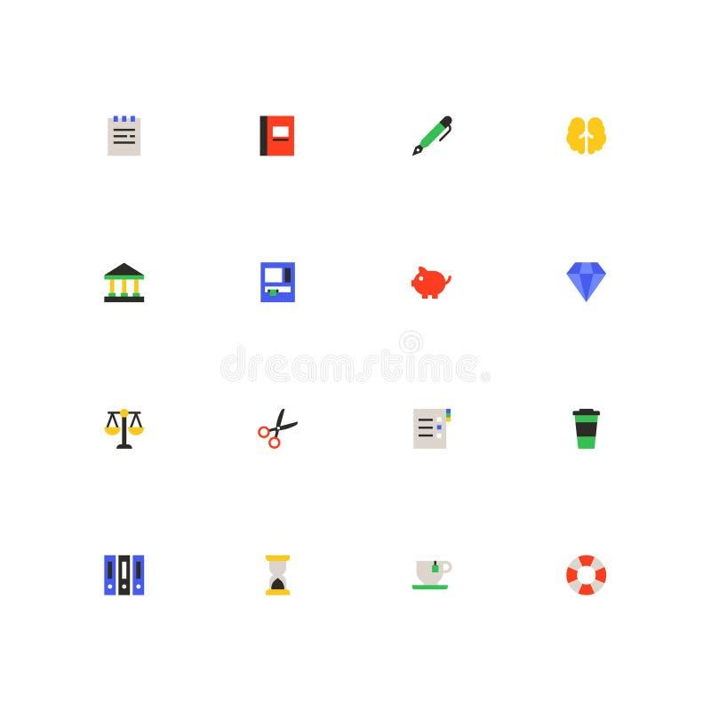 Finança e trabalho de escritório - grupo material colorido dos ícones do projeto ilustração do vetor