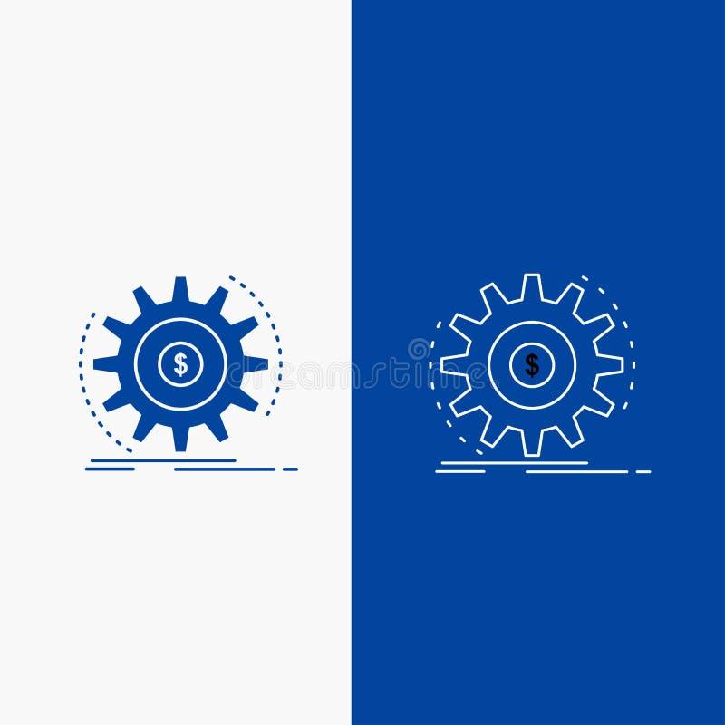 Finança, fluxo, renda, fatura, botão da Web da linha do dinheiro e do Glyph na bandeira vertical da cor azul para UI e UX, Web si ilustração royalty free