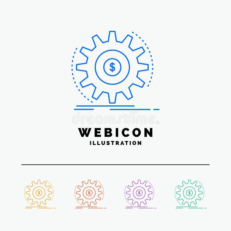 Finança, fluxo, renda, fazendo, linha de cor molde do dinheiro 5 do ícone da Web isolado no branco Ilustra??o do vetor ilustração royalty free