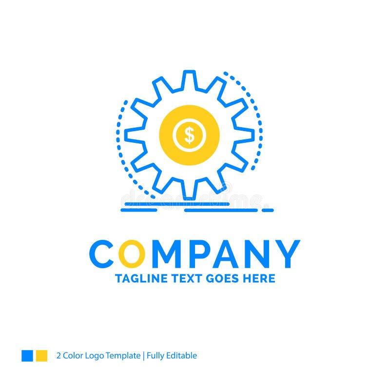 Finança, fluxo, renda, fazendo, logotipo amarelo azul t do negócio do dinheiro ilustração royalty free