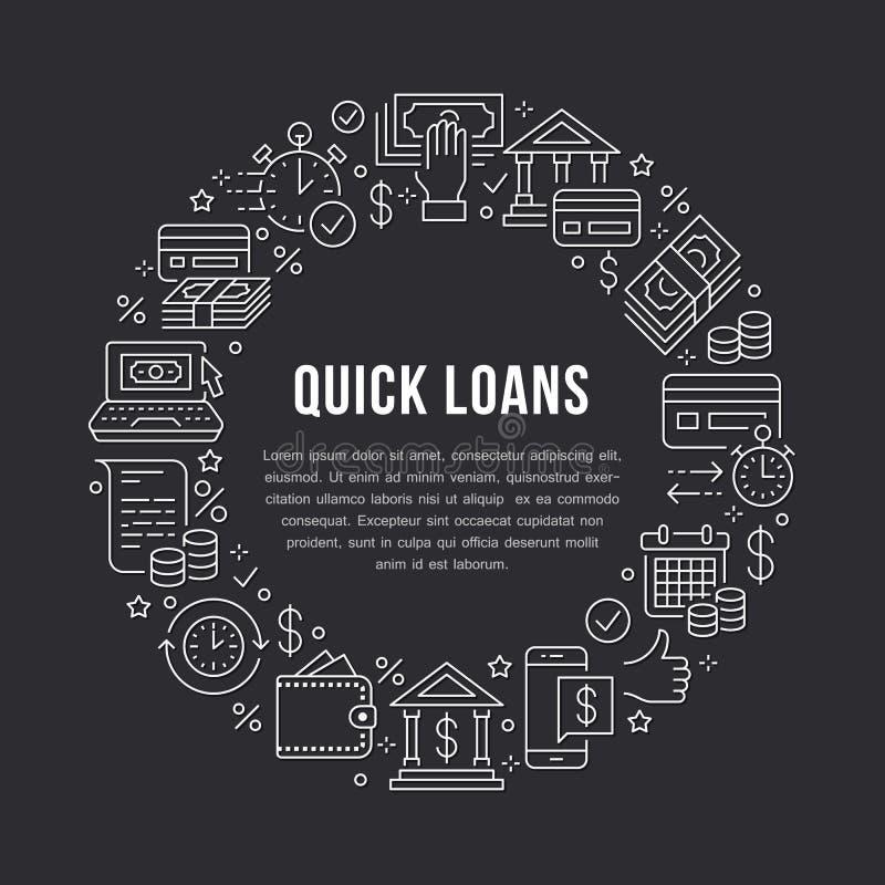 Finança, linha lisa ícones do molde do círculo do empréstimo do dinheiro Aprovação de crédito rápida, transação de moeda, nenhum  ilustração stock