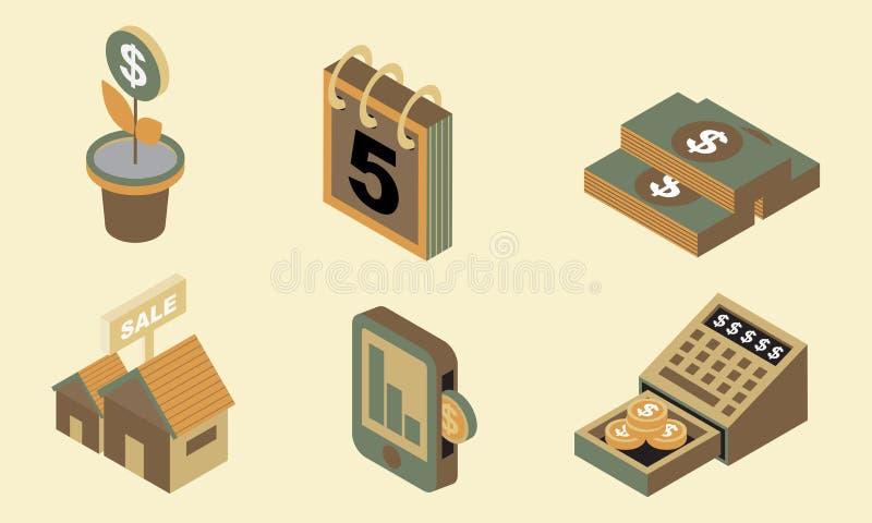 A finança lisa isométrica do ícone do projeto ajusta 4 fotos de stock
