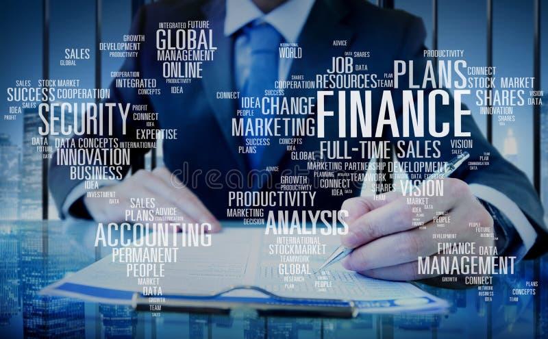 Finanace-Sicherheits-globales Analyse-Kosten- und Leistungsrechnung Konzept stockbilder