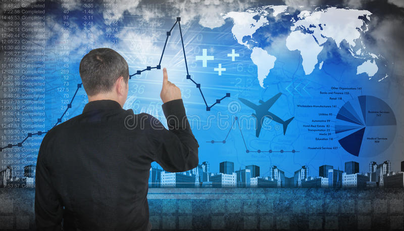 Finanace Travel Business Man Pointing stock images