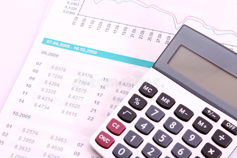 Finance. Calculate money with the calculator royalty free stock photo