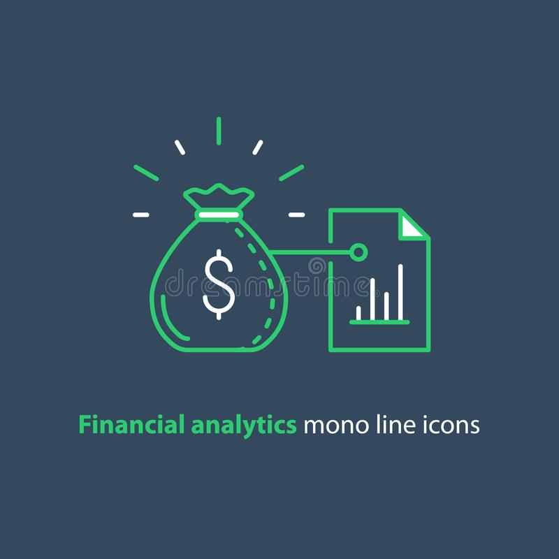 Finance advisor services, financial report, performance graph analytics. Financial analytics, budget planning, finance management, investment advisor concept royalty free illustration