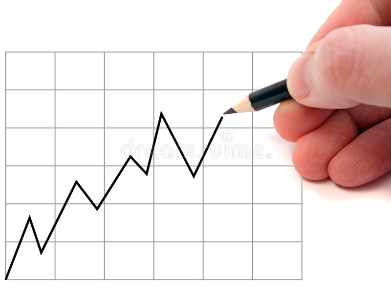 Finance analyst. A hand drawing a positive chart royalty free stock photo