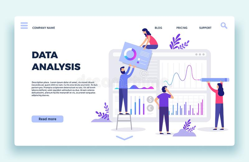 Finance analyst landing page. Stock market forecasting, stocks statistic and business trends forecast flat vector stock illustration