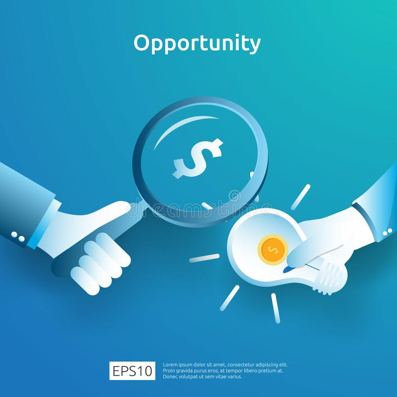 finance analytic and opportunity research concept with light bulb dollar and magnifying glass on hand. investor looking for stock illustration