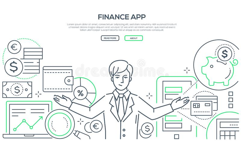 Finance app - colorful line design style vector illustration. On white background with copy space for text. High quality composition with successful businessman royalty free illustration