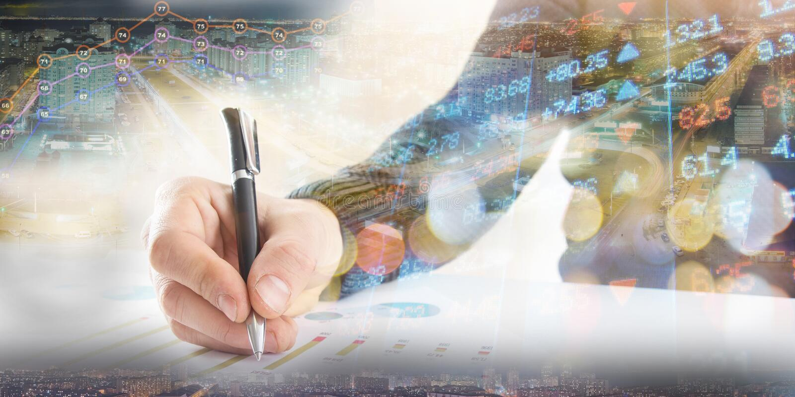 Finance, banking concept. businessman signs documents. Abstract image of Financial system with selective focus, toned. Double exposure stock image
