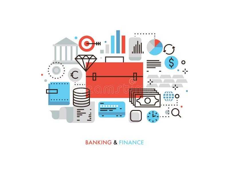 Finance and banking flat line illustration stock illustration