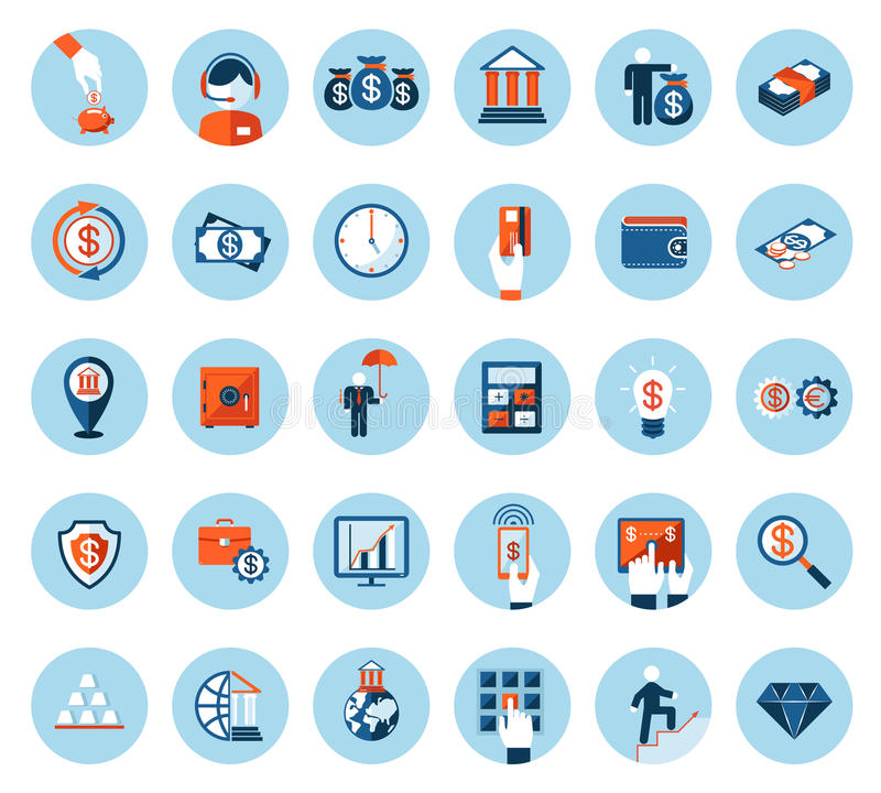 Finance and banking icons in colored flat style stock illustration
