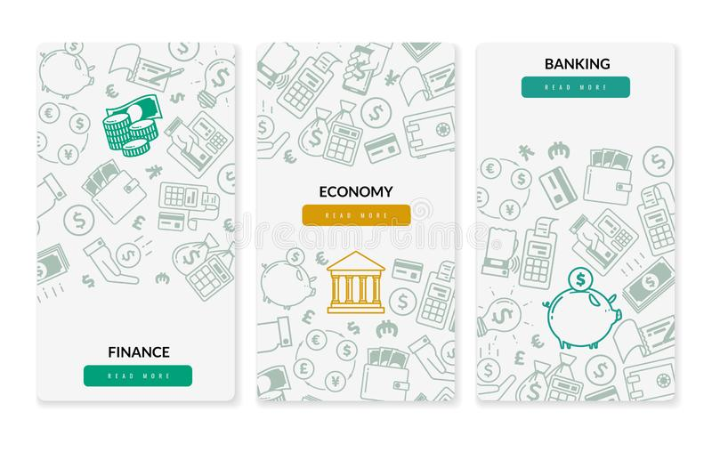 Finance banking icons vertical banners. Three vertical banners on white background. Banking and finance banner set with linear icons on economic theme. Three vector illustration