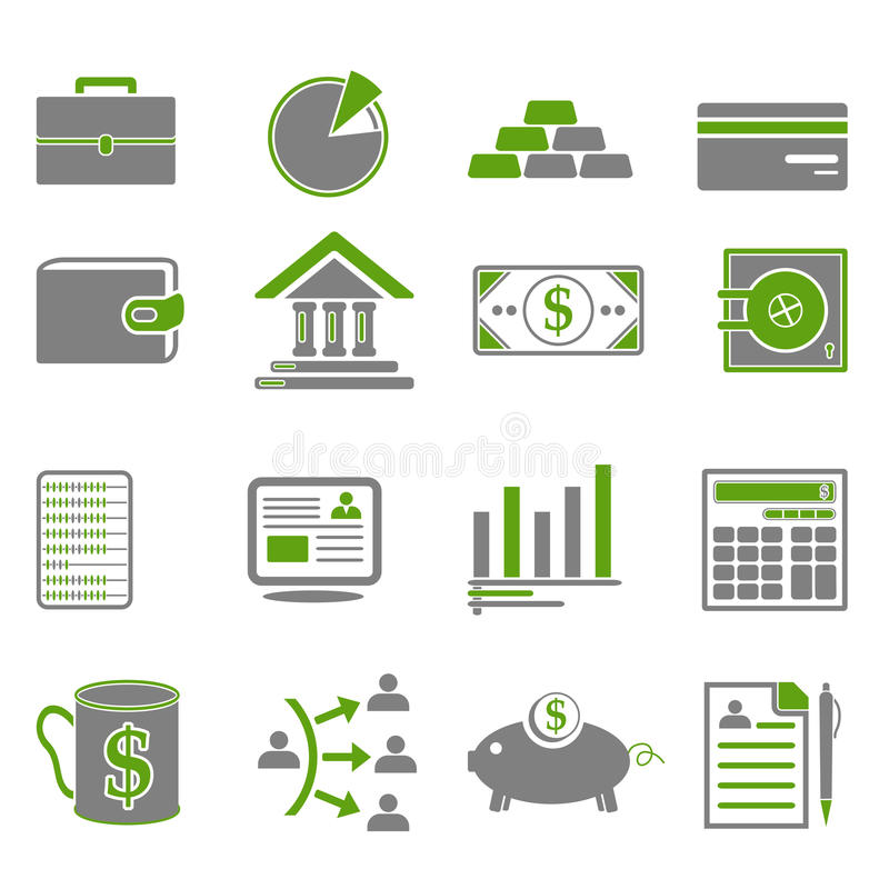 Finance, Business Green Icons vector illustration