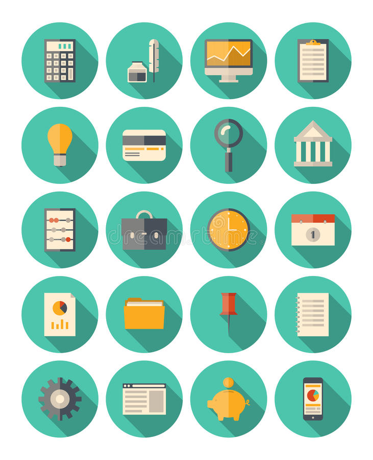 Finance and business modern icons set royalty free illustration