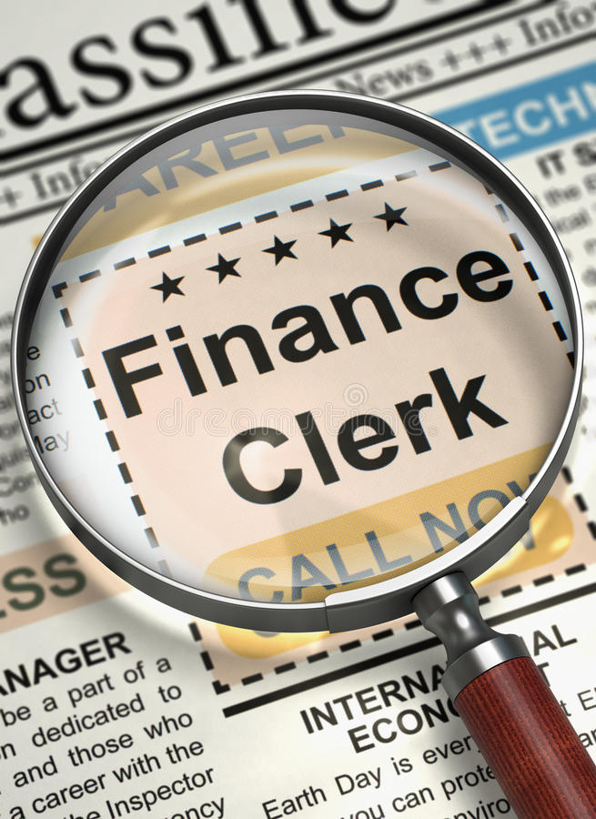 Finance Clerk Wanted. 3D. Finance Clerk. Newspaper with the Searching Job. Finance Clerk - Close View of Jobs in Newspaper with Loupe. Hiring Concept. Blurred royalty free stock photos