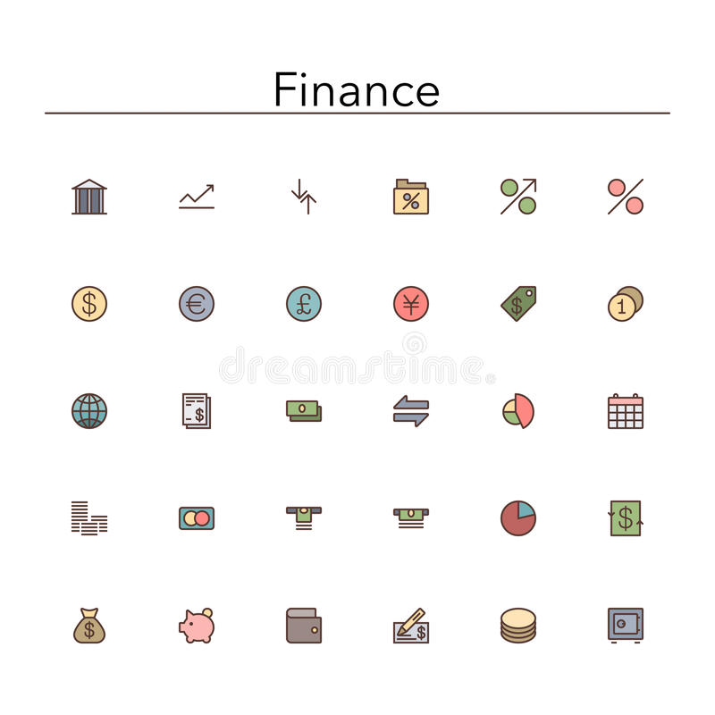 Finance Colored Line Icons stock illustration