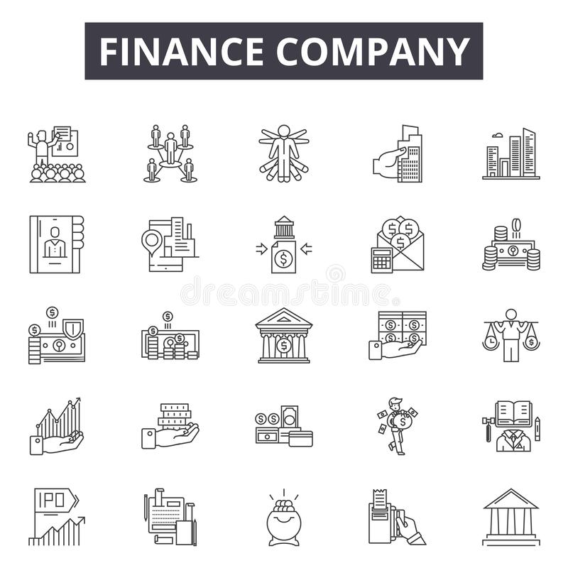 Finance company line icons, signs, vector set, outline illustration concept. Finance company line icons, signs, vector set, outline concept illustration royalty free illustration