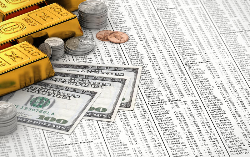 Finance concept. Gold bars, coins and hundred dollar bills over stock chart royalty free stock photos