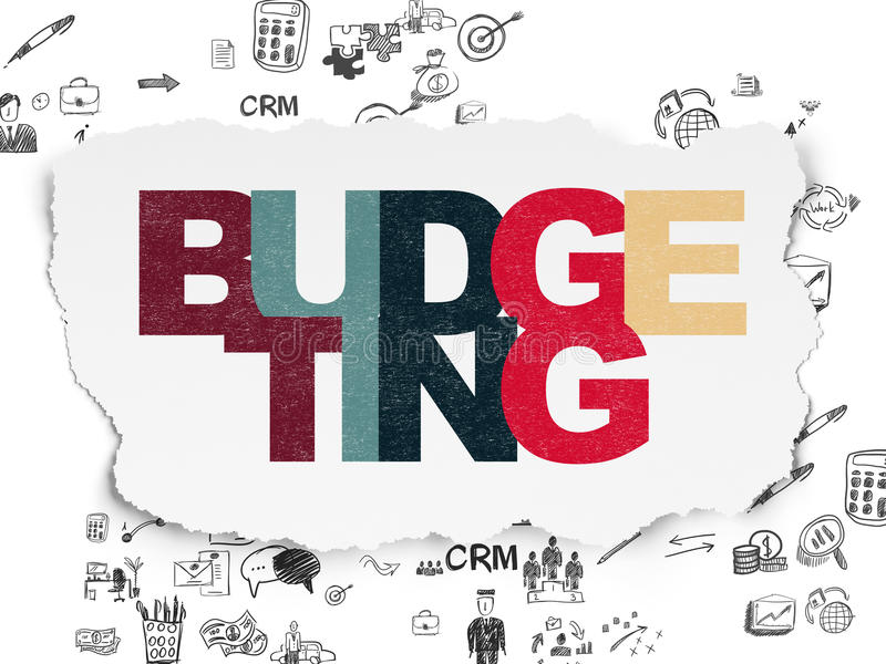 Finance concept: Budgeting on Torn Paper. Finance concept: Painted multicolor text Budgeting on Torn Paper background with Scheme Of Hand Drawn Business Icons vector illustration