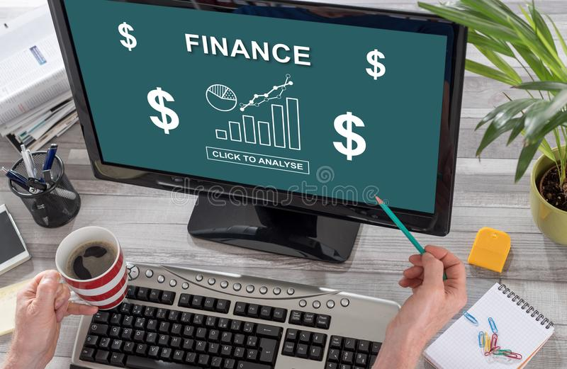 Finance concept on a computer. Screen royalty free stock image