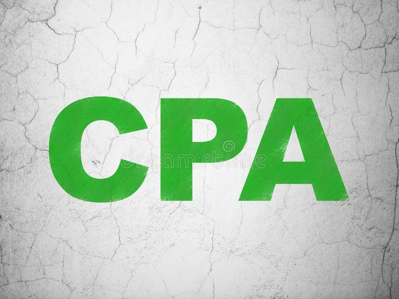 Finance concept: CPA on wall background stock photos