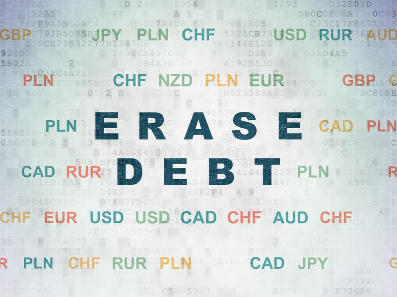 Finance concept: Erase Debt on Digital Data Paper background stock photography
