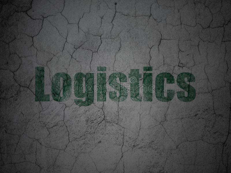 Finance concept: Logistics on grunge wall background. Finance concept: Green Logistics on grunge textured concrete wall background stock image