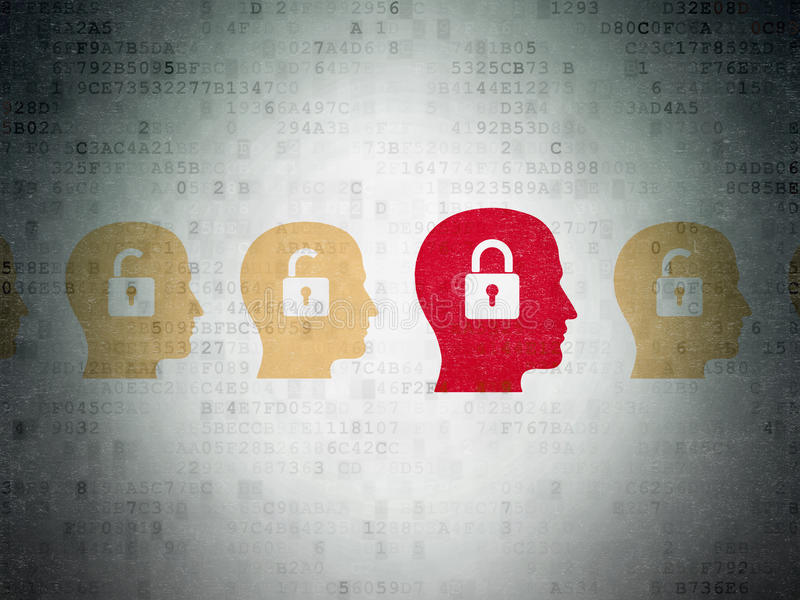 Finance concept: head with padlock icon on Digital. Finance concept: row of Painted yellow head with padlock icons around red head with padlock icon on Digital stock photo