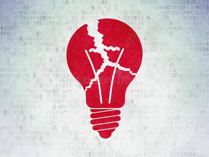 Finance concept: Light Bulb on Digital Data Paper background royalty free stock photos