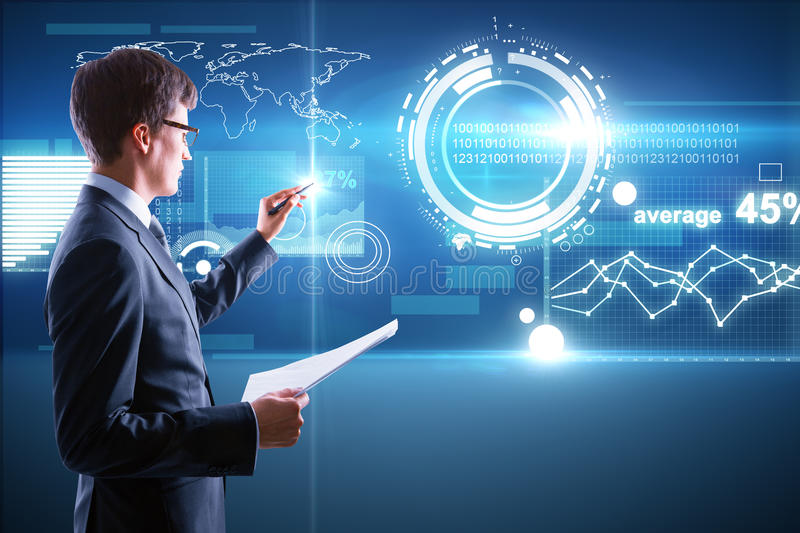 Finance concept. Man with document in hand managing abstract business panel on digital background. Finance concept stock images