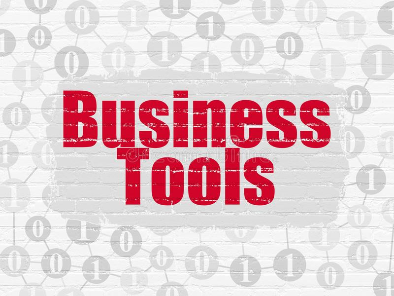 Finance concept: Business Tools on wall background. Finance concept: Painted red text Business Tools on White Brick wall background with Scheme Of Binary Code royalty free illustration