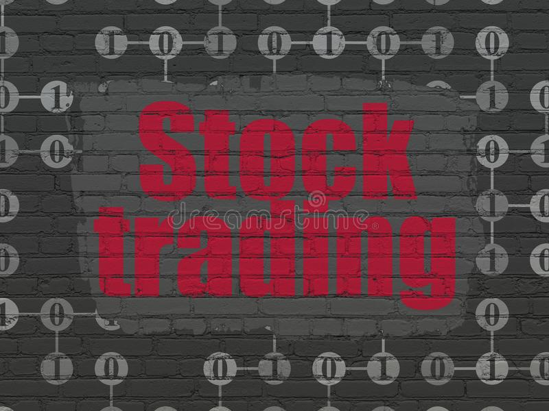 Finance concept: Stock Trading on wall background. Finance concept: Painted red text Stock Trading on Black Brick wall background with Scheme Of Binary Code vector illustration