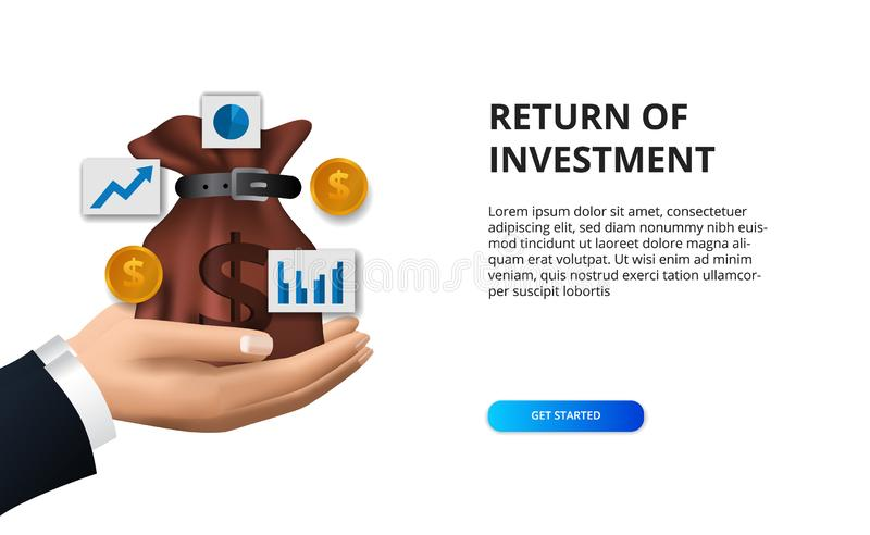 Finance concept return of investment, illustration money bag, golden coin, and chart icon royalty free illustration