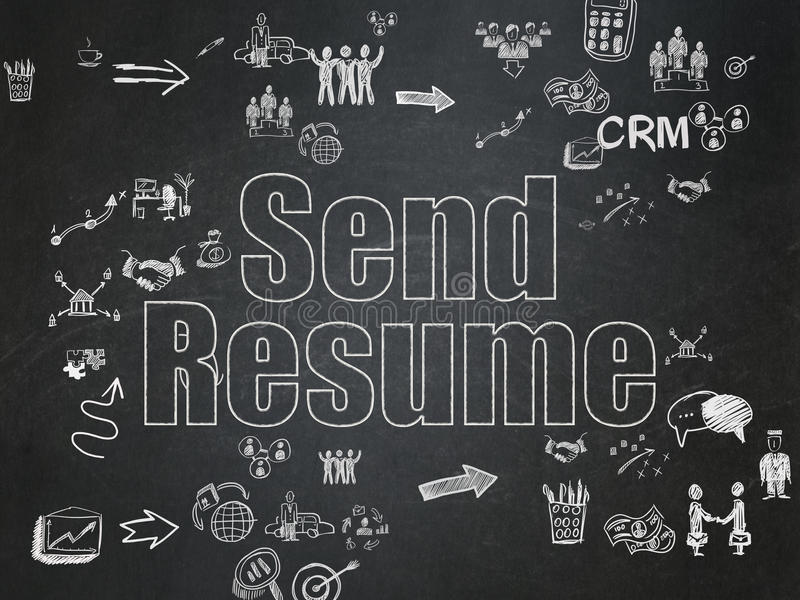 Finance concept: Send Resume on School Board. Finance concept: Chalk White text Send Resume on School Board background with Scheme Of Hand Drawn Business Icons stock illustration