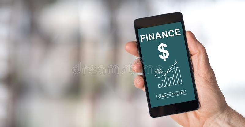 Finance concept on a smartphone. Smartphone screen displaying a finance concept royalty free stock photography