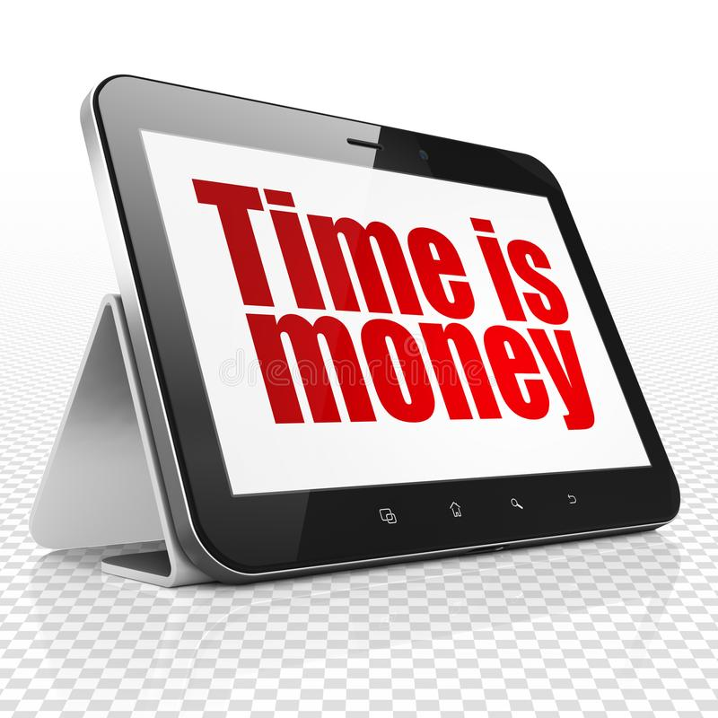 Finance concept: Tablet Computer with Time is Money on display. Finance concept: Tablet Computer with red text Time is Money on display, 3D rendering royalty free stock images
