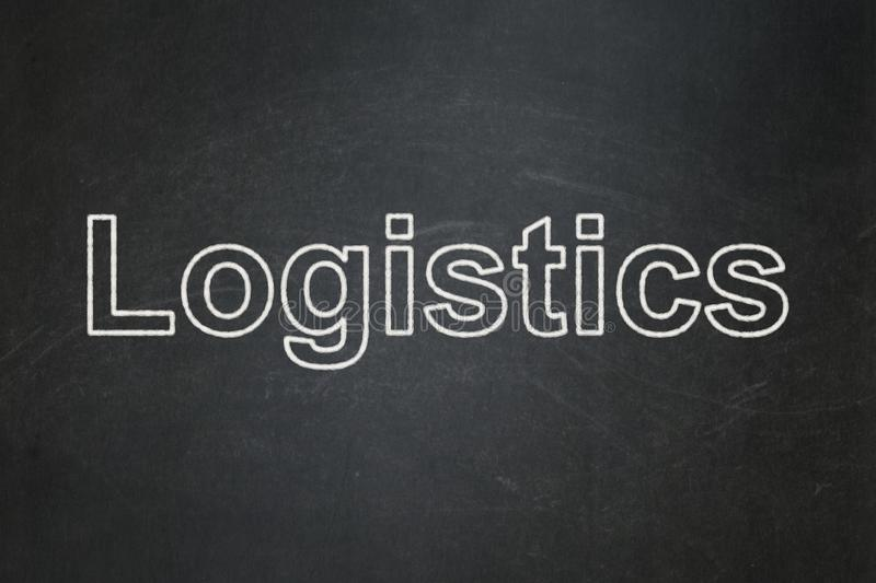 Finance concept: Logistics on chalkboard background. Finance concept: text Logistics on Black chalkboard background stock photography