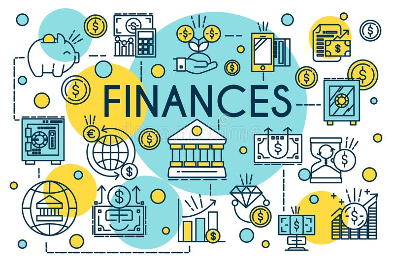 Finance concept thin line style. Business, management, financial planning, finances, banking and accounting. Vector stock illustration
