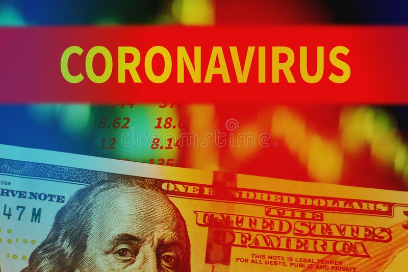 Finance crisis due concept . Dollar bills with quotes charts and word coronavirus on the dark background royalty free stock image