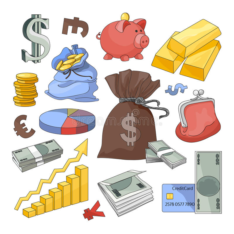Finance and Currency icons set. Hand drawn vector for business, finance design, infographic vector illustration