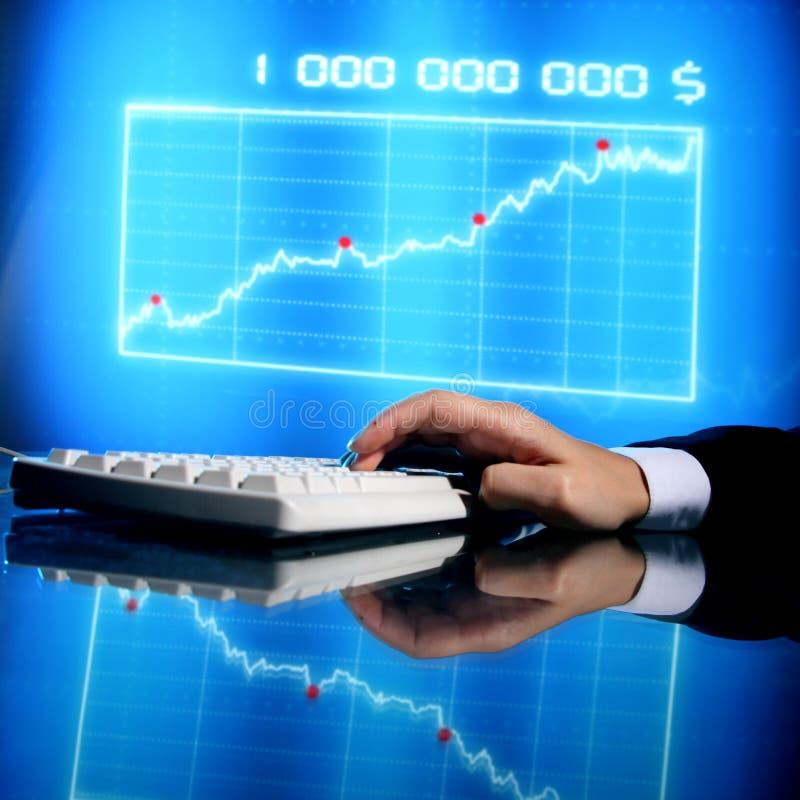 Finance data. Businessman input finance data information on keyboard