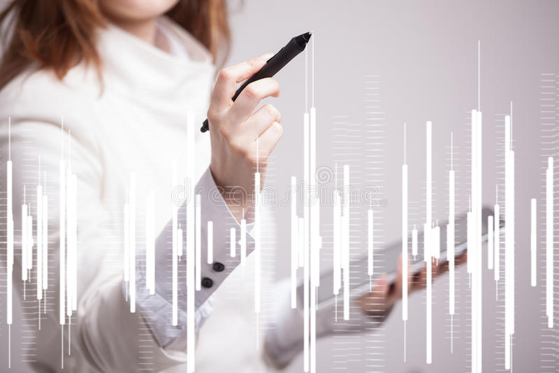 Finance data concept. Woman working with Analytics. Chart graph information on digital screen. Finance data concept. Young Woman working with Analytics. Chart royalty free stock images